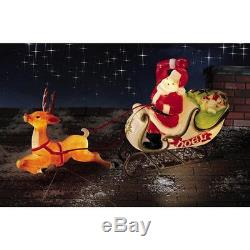 Christmas Santa Sleigh With Reindeer Sled Blow Mold Yard Decor Roof Top-new