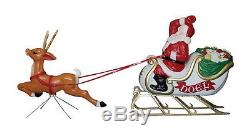 Christmas Santa Sleigh With Reindeer Sled Blow Mold Yard Decor Roof Topnew
