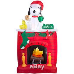 Christmas Santa Snoopy Peanuts Fireplace Inflatable Airblown Yard Decoration