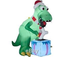 Christmas Santa T Rex Dinosaur Airblown Inflatable Yard Decoration 9 Ft Tall