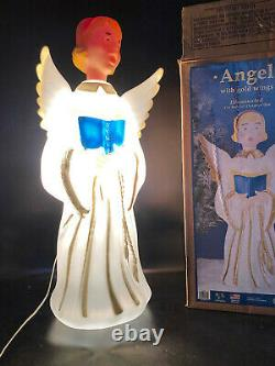 Christmas Singing Angel Gold Wings Blow Mold Vtg Nativity Yard Decor w Box Choir