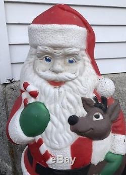 Christmas Tpi Plastic Outdoor Santa Hugging Reindeer Buddy Deer Figure Blow Mold
