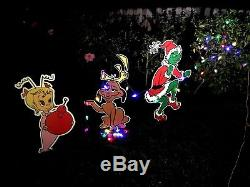 Cindy Lou, GRINCH & Max dog Stealing CHRISTMAS Lights Yard Art
