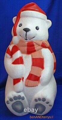 Coca Cola Polar Bear, Scarf & Santa Hat Christmas Blow Mold