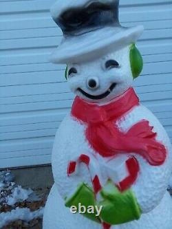 #D Vintage 40 Snowman Lighted Blow Mold Yard Lawn Decoration Christmas Light Up