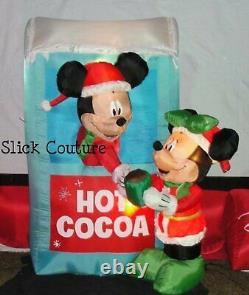 DISNEY Christmas Airblown Inflatable MICKEY & MINNIE HOT COCOA STAND NIB RARE