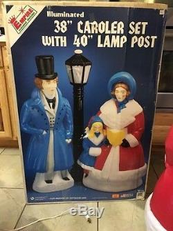 Empire 38 Dickens Caroler Carolers Lady Girl Man Light Blow Mold Christmas Box