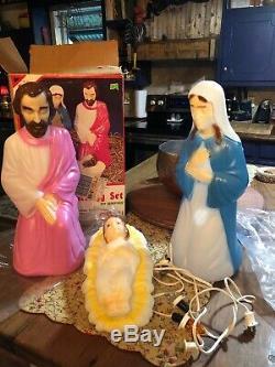 Empire 4pc Nativity Blow Mold Set 17 Lights Up In Box W Cord EUC