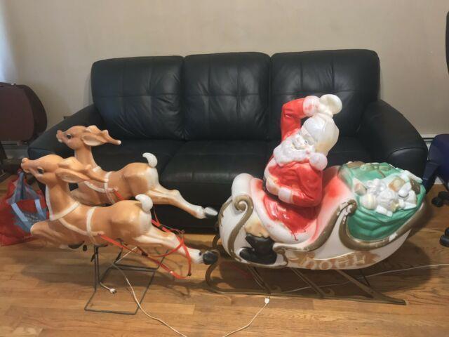 Empire Blow Mold Large Christmas Santa Sleigh 2 Reindeer Lighted Display Works