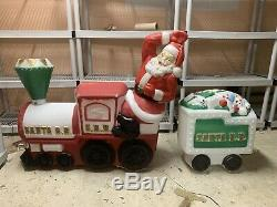 Empire Blow Mold S. R. R. Santa R. R. Train With Caboose Lighted Christmas Lawn Decor