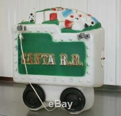 Empire Blow Mold S. R. R. Santa R. R. Train With Caboose Lighted Christmas Yard Decor