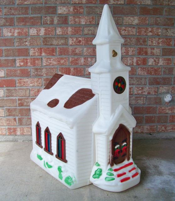 Empire Church Chapel Blow Mold Outdoor Lighted Christmas Decor Vintage 40 Tall