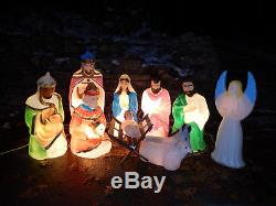 Empire Vintage Blow Mold Nativity Set +Angel 11Large Outdoor Christmas Lightups