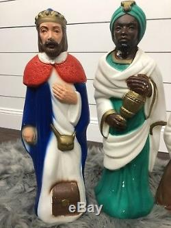 Empire Vintage Blowmolds 8 Piece Nativity Set Light Up Outdoor Plastic Christmas