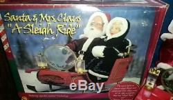 Extremely Rare Gemmy Animated lighted Christmas Sleigh Santa And Mrs Claus W Box