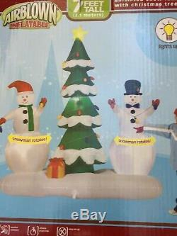GEMMY 2007 7' Tall Animated SnowMen Lighted Christmas Tree Inflatable Airblown