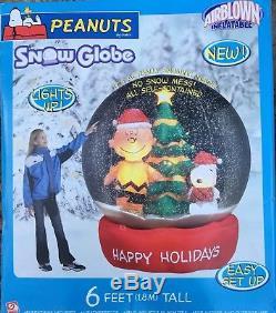 GEMMY Airblown Inflatable 6 Peanuts Snoopy Charlie Brown Snow Globe NIB