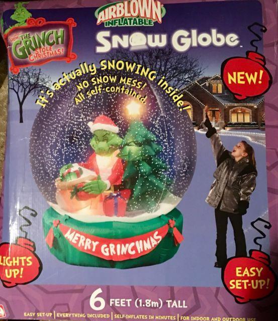 Gemmy Christmas Airblown Inflatable 6 Grinch Snow Globe Nib