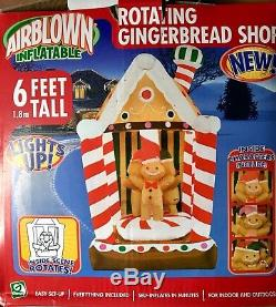GEMMY Christmas Airblown Inflatable Rotating Gingerbread House 6 NIB