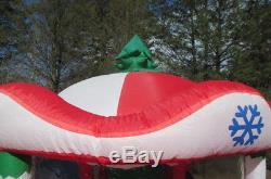 GEMMY Inflatable AirBlown Christmas Carousel 7 FT 2005 Santa Reindeer Animated