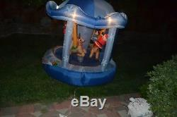 GEMMY RARE BLUE 6' Animated Christmas Carousel Lighted Inflatable airblown