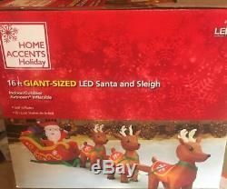 GIANT 16' SANTA SLEIGH PRESENTS & 3 REINDEER Christmas LED Airblown Inflatable