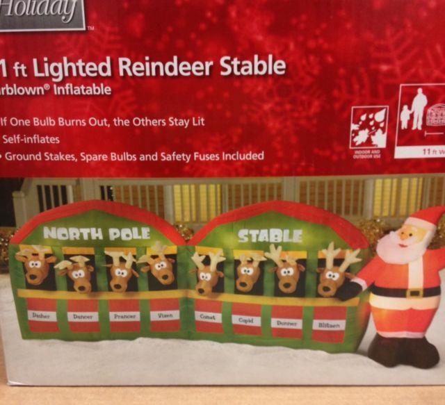 Giant Santa Reindeer North Pole Stable Christmas Airblown Inflatable Yard Decor
