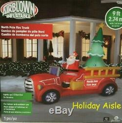 GIANT SANTA'S FIRE TRUCK Airblown Lighted Inflatable CHRISTMAS TREE