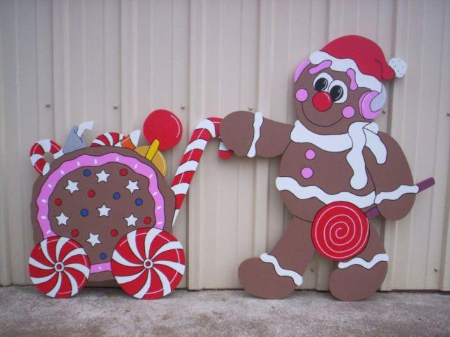 Gingerbread With Candy Cart 2 Pc. Christmas Yard Art