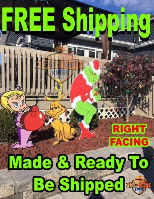 Grinch Stealing Christmas Light Yard Art Right Facing Grinch Max Cindy Free Ship