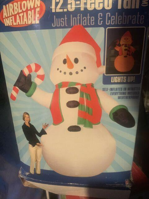 Gemmy 12.5 Ft Pre-lit Inflatable Snowman With Candy Cane Rare New Christmas