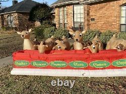 Gemmy 16.5 Ft Santa Feeding Eight Reindeer VIDEO Animated Christmas Inflatable