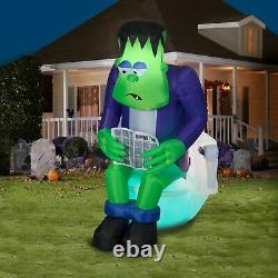 Gemmy 6 ft Halloween Inflatable Surprise Monster Toilet Scene with Sound