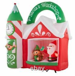 Gemmy 7.5 ft. Width Pre-Lit LED Animated Inflatable Santa's Workshop Scene