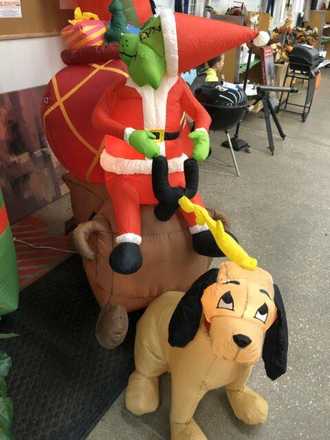 Gemmy 7' Long Lighted Grinch Max & Sleigh Christmas Inflatable Blow-up