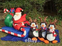 Gemmy 8' Lighted Santa & Penguin Reindeer Christmas Airblown Inflatable Blow-up