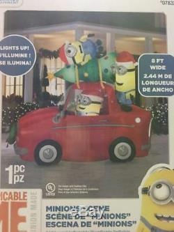 Gemmy 8' Long Lighted Christmas Minions in Car Inflatable Airblown-NEW
