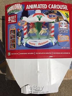 Gemmy Airblown Christmas Inflatable 8ft Musical Carousel Rare! (spins & Sounds)