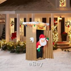 Gemmy Airblown Christmas Inflatables 6' Tall Animated Santa Coming Out of Ou
