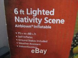 Gemmy Airblown Christmas Nativity Inflatable 3 Wise Men Jesus Mary Joseph 6' Lon