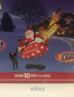 Gemmy Airblown Floating Inflatable Santa Sleigh Reindeer 10 Ft Tall New FREE S/H