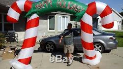 Gemmy Airblown Inflatable 9 Feet Tall Christmas Candycane Light Up Archway