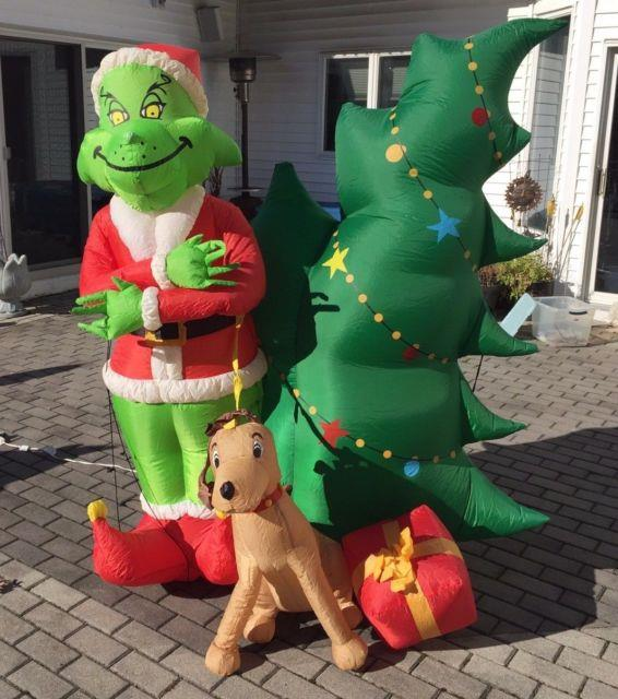 Gemmy Airblown Inflatable Blow Up Grinch, Christmas Tree & Max