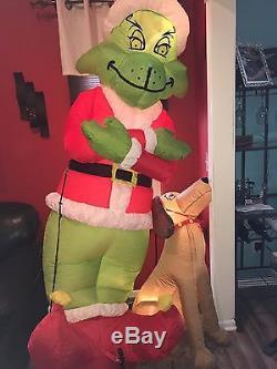 Gemmy Airblown Inflatable Blow up Grinch & Max Christmas Yard Display 8 FT