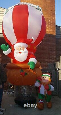 Gemmy Airblown Inflatable Floating Hot Air Balloon Santa Elf Giant 12 Ft Tall