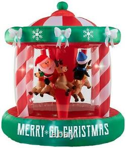 Gemmy Airblown Inflatable Santa Christmas Animated Spinning Carousel Ships Now