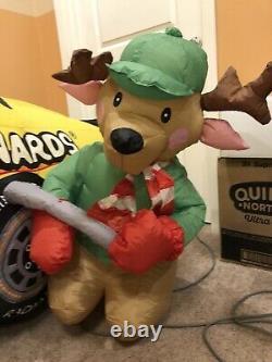 Gemmy Christmas Airblown Inflatable NASCAR Menards Blow Up Santa Reindeer Rare
