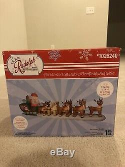 Gemmy Christmas Airblown Inflatable Rudolph Santa Sleigh Blow Up Yard Decor
