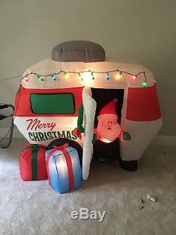 Gemmy Christmas Animated Airblown Inflatable Santa In Camper Scene