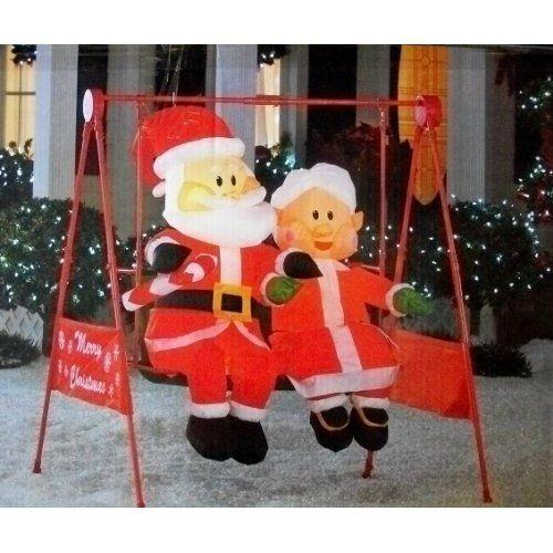 Gemmy Electric Animated Christmas Porch Swing Inflatable Mr & Mrs Claus